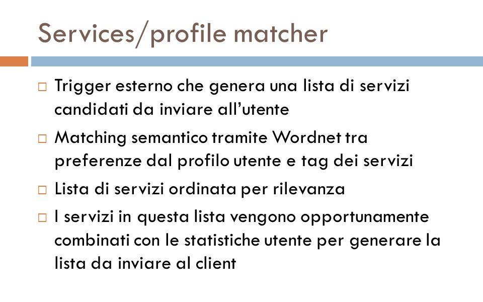 Services/profile matcher Trigger esterno che genera una lista di servizi candidati da inviare allutente Matching semantico tramite Wordnet tra preferenze dal profilo utente e tag dei servizi Lista di servizi ordinata per rilevanza I servizi in questa lista vengono opportunamente combinati con le statistiche utente per generare la lista da inviare al client