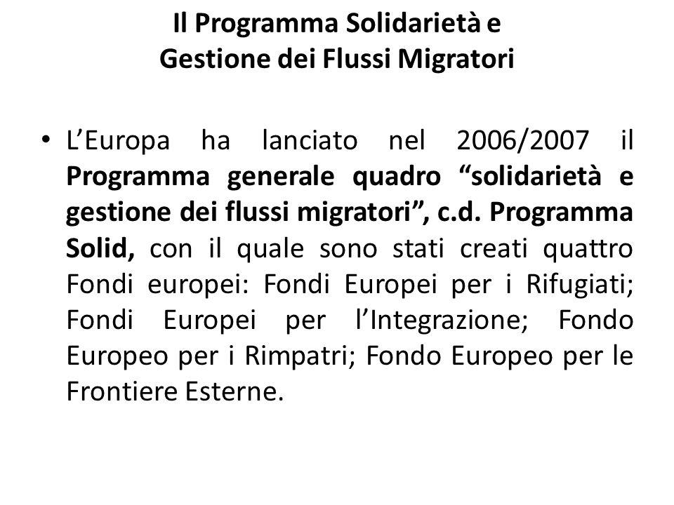 Il Programma Solidarietà e Gestione dei Flussi Migratori LEuropa ha lanciato nel 2006/2007 il Programma generale quadro solidarietà e gestione dei flu