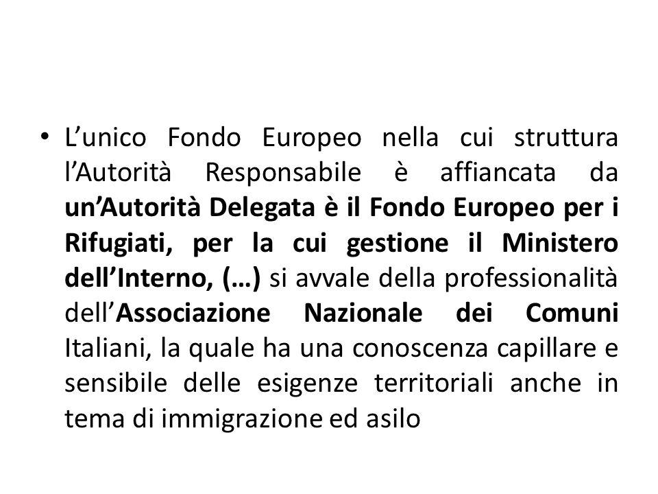 Lunico Fondo Europeo nella cui struttura lAutorità Responsabile è affiancata da unAutorità Delegata è il Fondo Europeo per i Rifugiati, per la cui ges