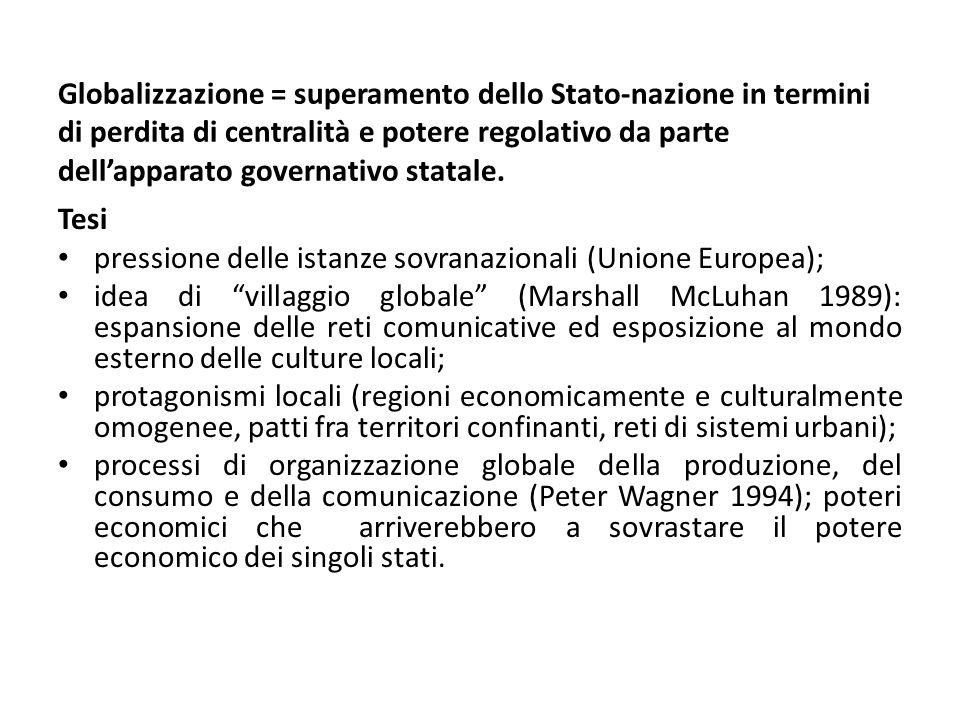 Globalizzazione = superamento dello Stato-nazione in termini di perdita di centralità e potere regolativo da parte dellapparato governativo statale. T