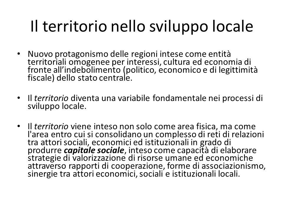 Il territorio nello sviluppo locale Nuovo protagonismo delle regioni intese come entità territoriali omogenee per interessi, cultura ed economia di fr