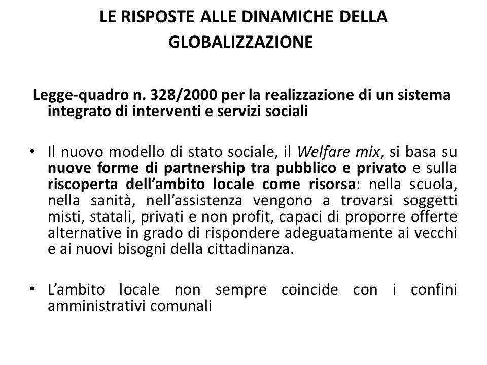 LE RISPOSTE ALLE DINAMICHE DELLA GLOBALIZZAZIONE Legge-quadro n. 328/2000 per la realizzazione di un sistema integrato di interventi e servizi sociali