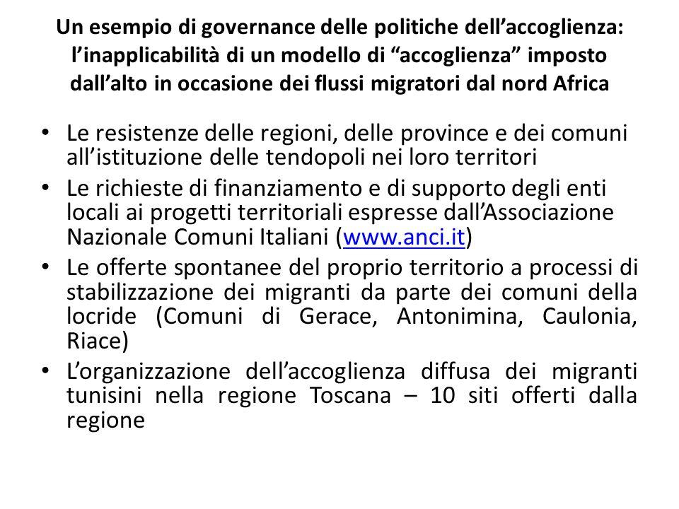 Un esempio di governance delle politiche dellaccoglienza: linapplicabilità di un modello di accoglienza imposto dallalto in occasione dei flussi migra