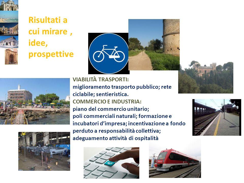 VIABILITÀ TRASPORTI: miglioramento trasporto pubblico; rete ciclabile; sentieristica.