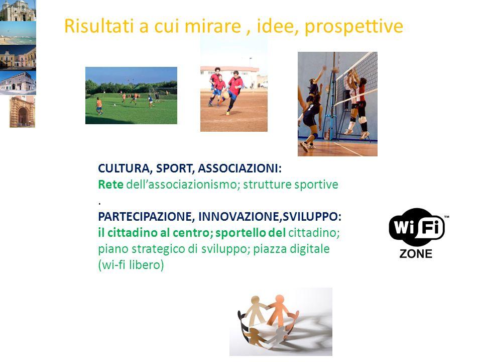 CULTURA, SPORT, ASSOCIAZIONI: Rete dellassociazionismo; strutture sportive.