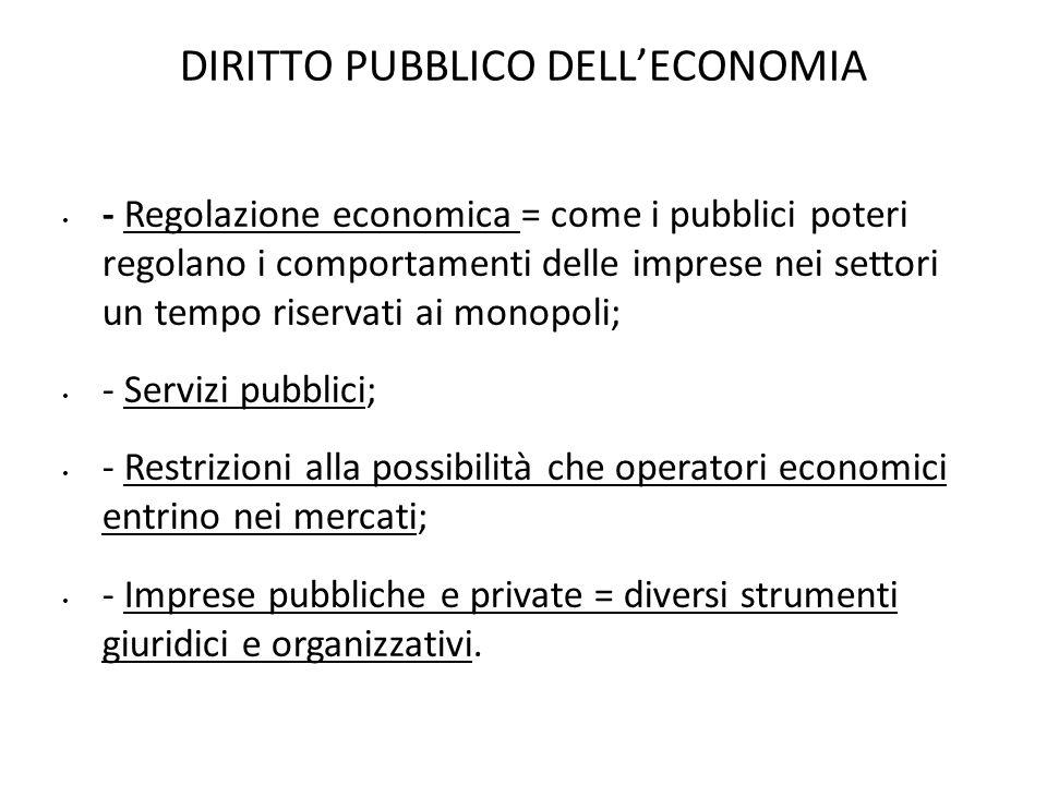 DIRITTO PUBBLICO DELLECONOMIA - Regolazione economica = come i pubblici poteri regolano i comportamenti delle imprese nei settori un tempo riservati a