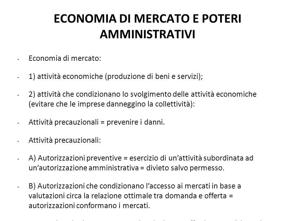 ECONOMIA DI MERCATO E POTERI AMMINISTRATIVI Economia di mercato: 1) attività economiche (produzione di beni e servizi); 2) attività che condizionano l