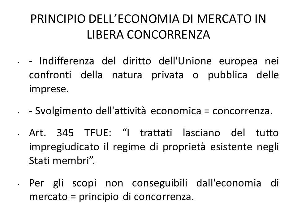 PRINCIPIO DELLECONOMIA DI MERCATO IN LIBERA CONCORRENZA - Indifferenza del diritto dell'Unione europea nei confronti della natura privata o pubblica d