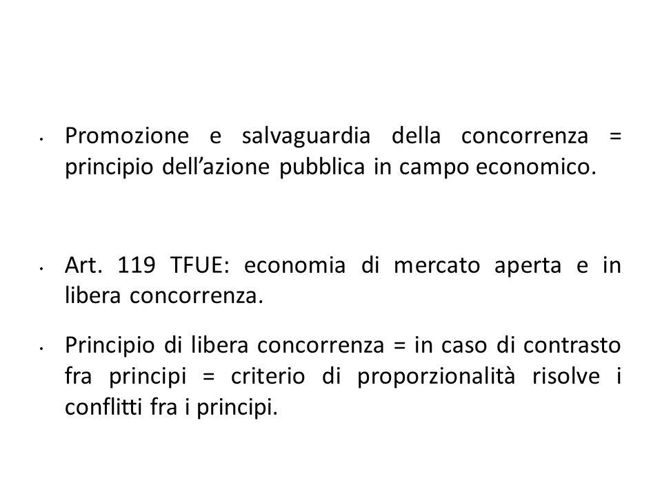 Promozione e salvaguardia della concorrenza = principio dellazione pubblica in campo economico. Art. 119 TFUE: economia di mercato aperta e in libera