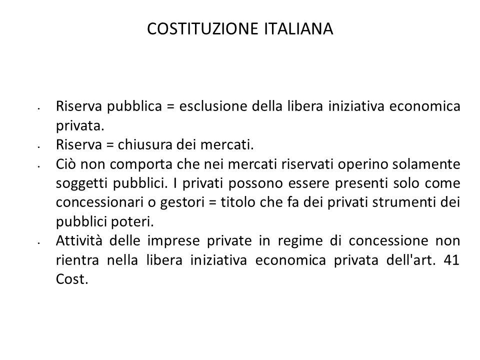COSTITUZIONE ITALIANA Riserva pubblica = esclusione della libera iniziativa economica privata. Riserva = chiusura dei mercati. Ciò non comporta che ne