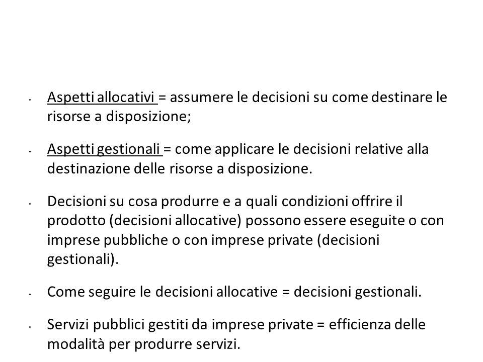 Aspetti allocativi = assumere le decisioni su come destinare le risorse a disposizione; Aspetti gestionali = come applicare le decisioni relative alla