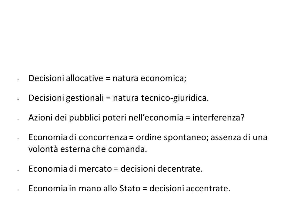Decisioni allocative = natura economica; Decisioni gestionali = natura tecnico-giuridica. Azioni dei pubblici poteri nelleconomia = interferenza? Econ
