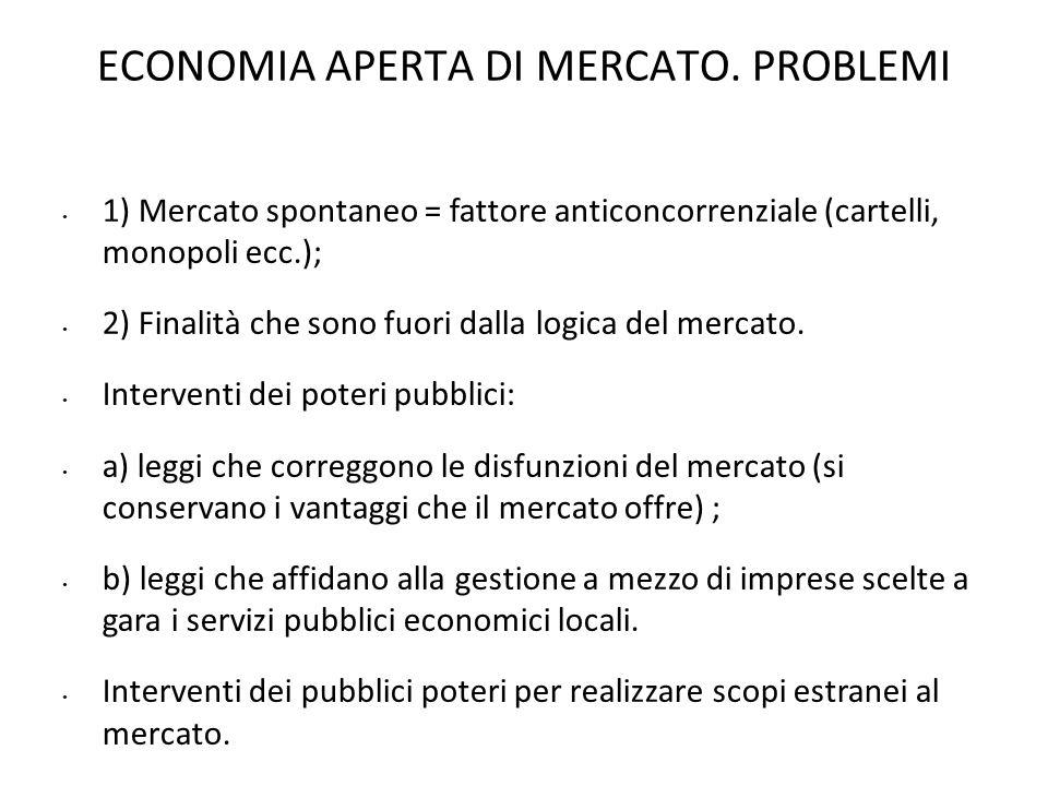 ECONOMIA APERTA DI MERCATO. PROBLEMI 1) Mercato spontaneo = fattore anticoncorrenziale (cartelli, monopoli ecc.); 2) Finalità che sono fuori dalla log