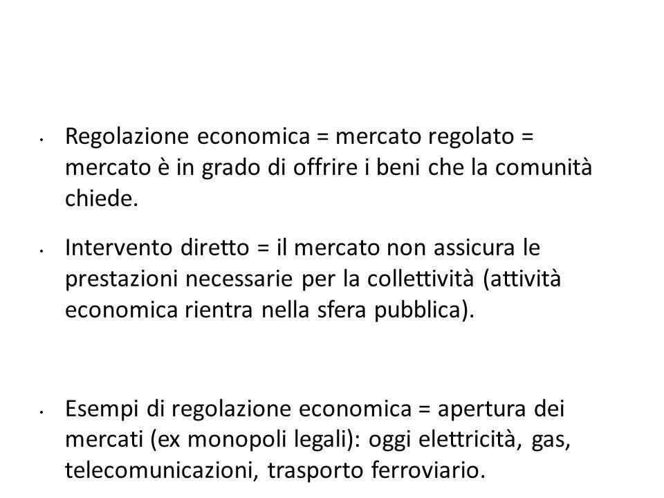 Regolazione economica = mercato regolato = mercato è in grado di offrire i beni che la comunità chiede. Intervento diretto = il mercato non assicura l
