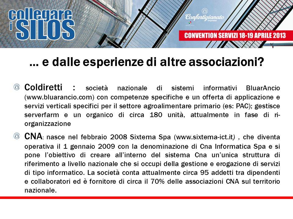 … e dalle esperienze di altre associazioni? Coldiretti : società nazionale di sistemi informativi BluarAncio (www.bluarancio.com) con competenze speci