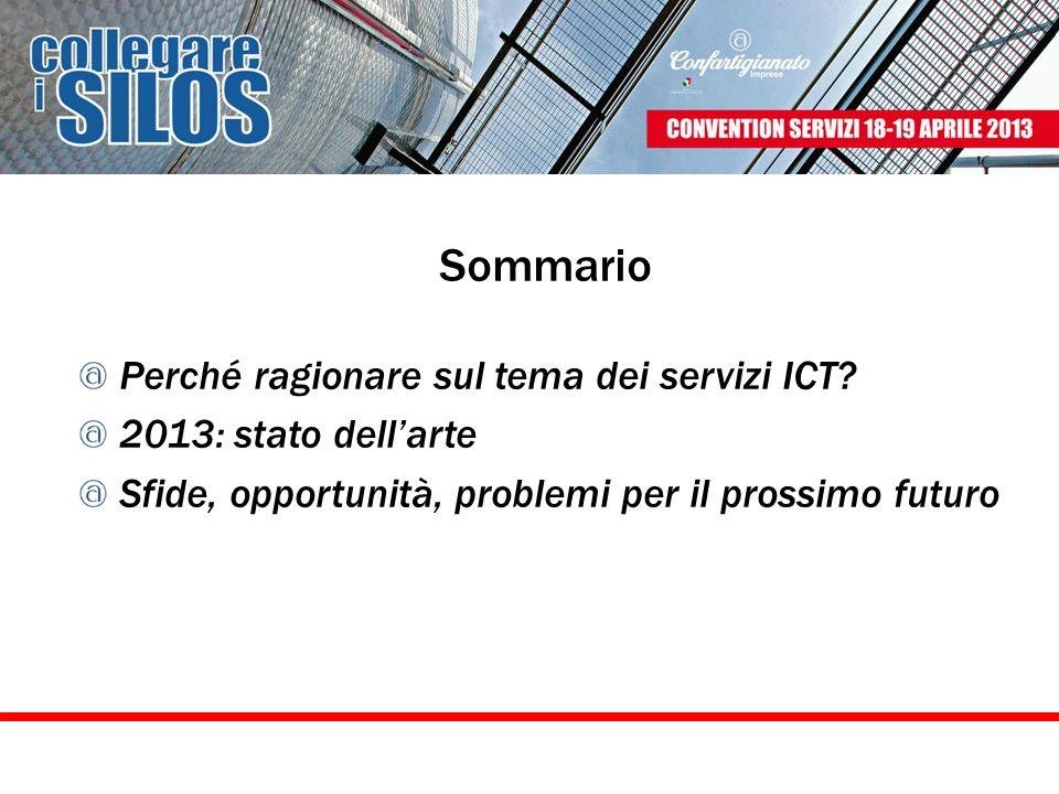 Sommario Perché ragionare sul tema dei servizi ICT? 2013: stato dellarte Sfide, opportunità, problemi per il prossimo futuro