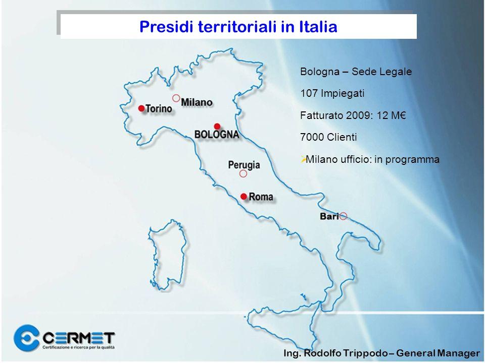 Bologna – Sede Legale 107 Impiegati Fatturato 2009: 12 M 7000 Clienti Milano ufficio: in programma Presidi territoriali in Italia Ing.
