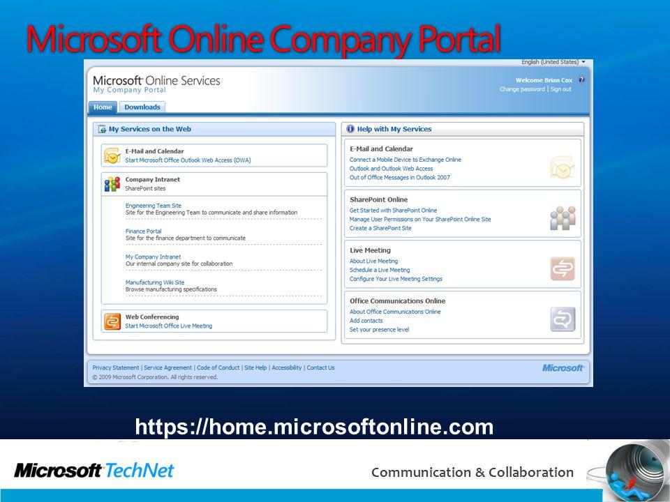 10 Communication & Collaboration Microsoft Online Company Portal https://home.microsoftonline.com