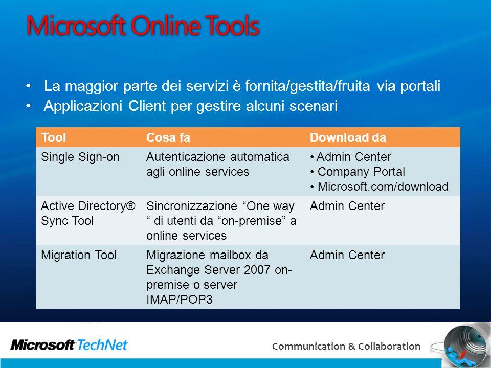 11 Communication & Collaboration Microsoft Online Tools La maggior parte dei servizi è fornita/gestita/fruita via portali Applicazioni Client per gest