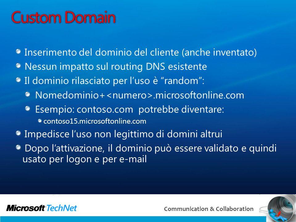 13 Communication & Collaboration Custom Domain Inserimento del dominio del cliente (anche inventato) Nessun impatto sul routing DNS esistente Il domin
