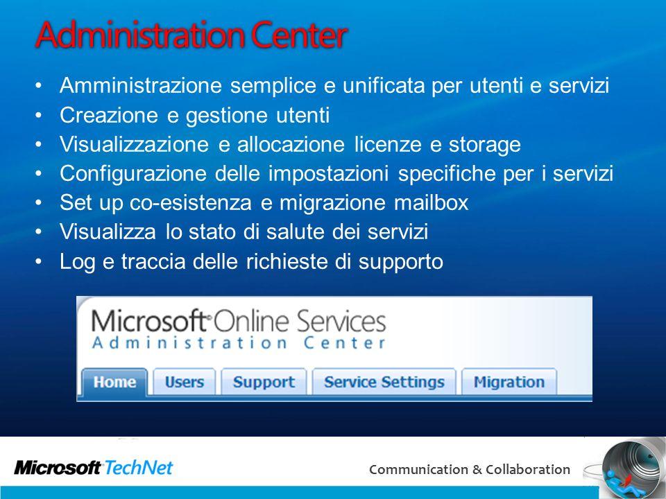 14 Communication & Collaboration Administration Center Amministrazione semplice e unificata per utenti e servizi Creazione e gestione utenti Visualizz