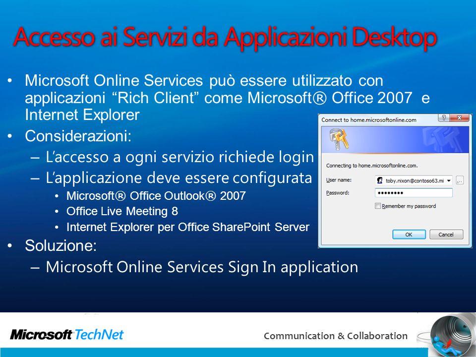 20 Communication & Collaboration Accesso ai Servizi da Applicazioni Desktop Microsoft Online Services può essere utilizzato con applicazioni Rich Clie