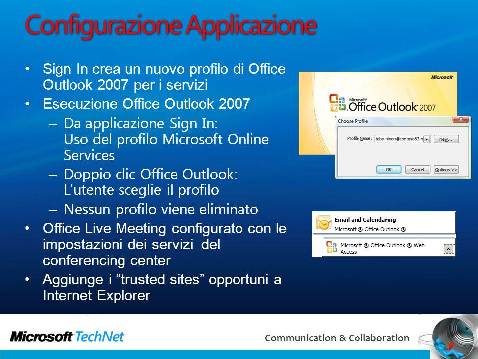 24 Communication & Collaboration Configurazione Applicazione Sign In crea un nuovo profilo di Office Outlook 2007 per i servizi Esecuzione Office Outl
