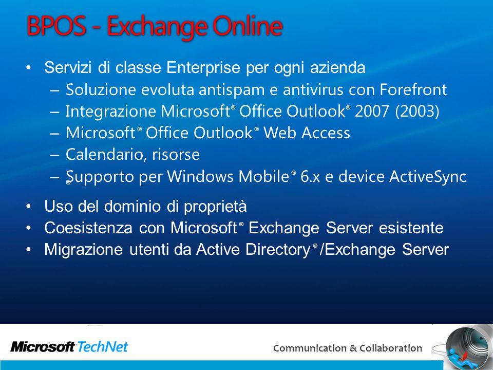 25 Communication & Collaboration BPOS - Exchange Online Servizi di classe Enterprise per ogni azienda – Soluzione evoluta antispam e antivirus con For