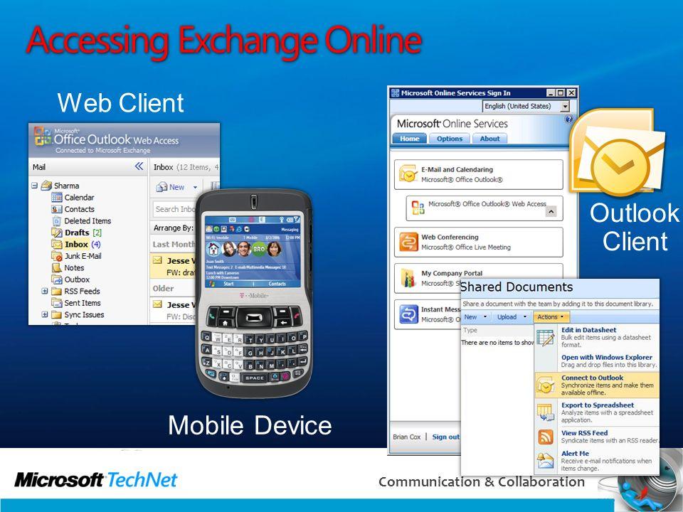 26 Communication & Collaboration Accessing Exchange Online Web Client Mobile Device Outlook Client