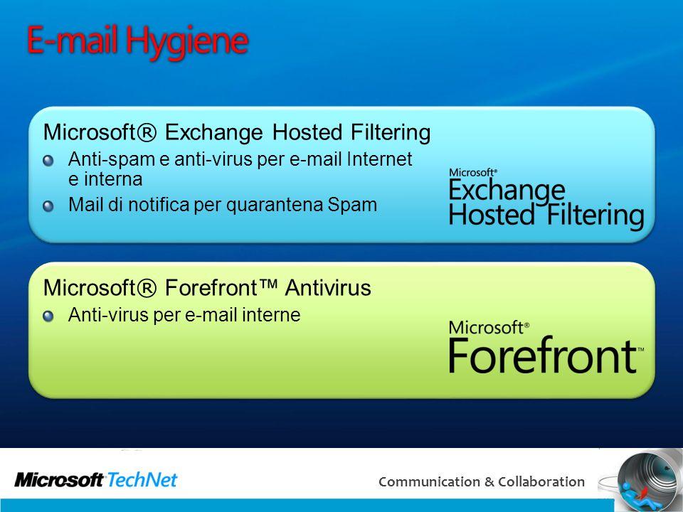 27 Communication & Collaboration E-mail Hygiene Microsoft ® Exchange Hosted Filtering Anti-spam e anti-virus per e-mail Internet e interna Mail di not