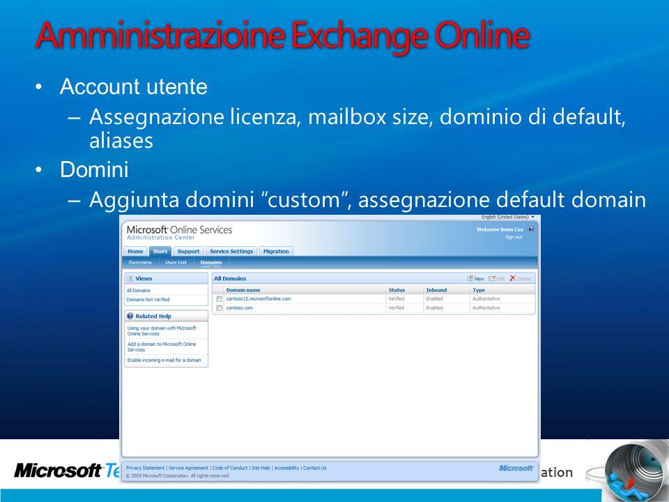 29 Communication & Collaboration Amministrazioine Exchange Online Account utente – Assegnazione licenza, mailbox size, dominio di default, aliases Dom