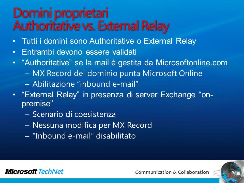 31 Communication & Collaboration Domini proprietari Authoritative vs. External Relay Tutti i domini sono Authoritative o External Relay Entrambi devon