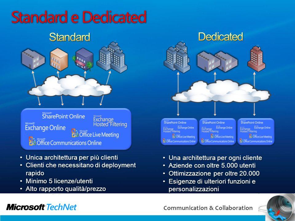 4 Communication & Collaboration Standard e Dedicated Unica architettura per più clienti Clienti che necessitano di deployment rapido Minimo 5 licenze/