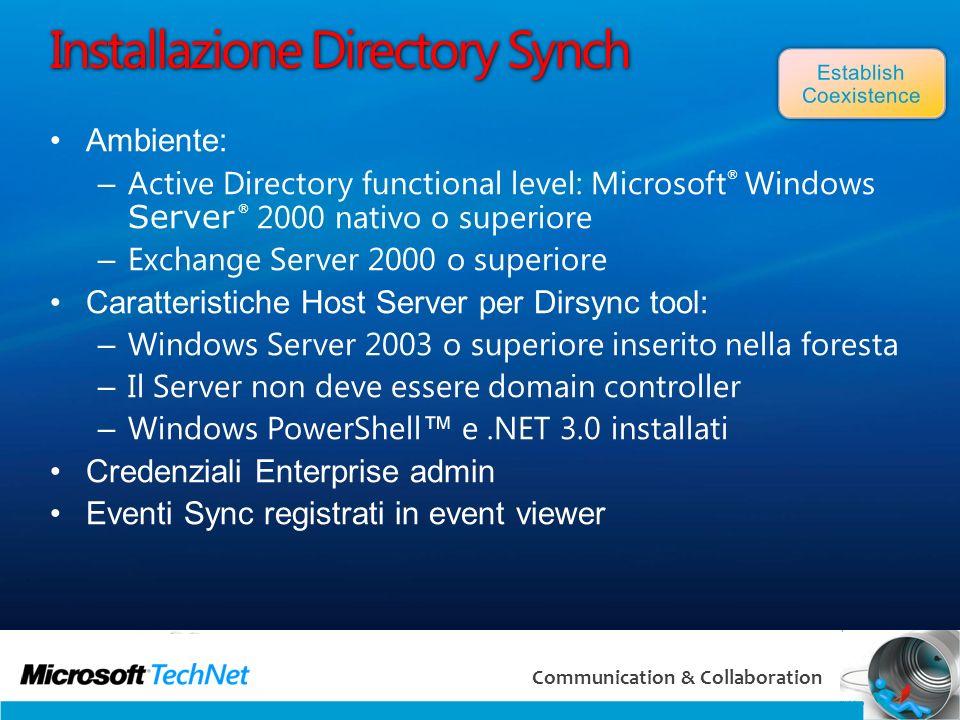 50 Communication & Collaboration Installazione Directory Synch Ambiente: – Active Directory functional level: Microsoft ® Windows Server ® 2000 nativo