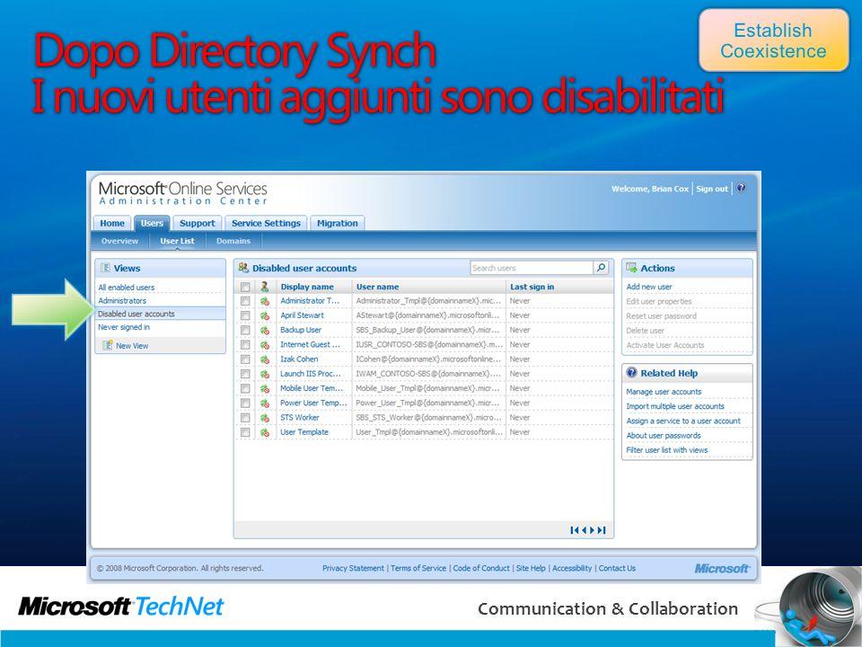 51 Communication & Collaboration Dopo Directory Synch I nuovi utenti aggiunti sono disabilitati