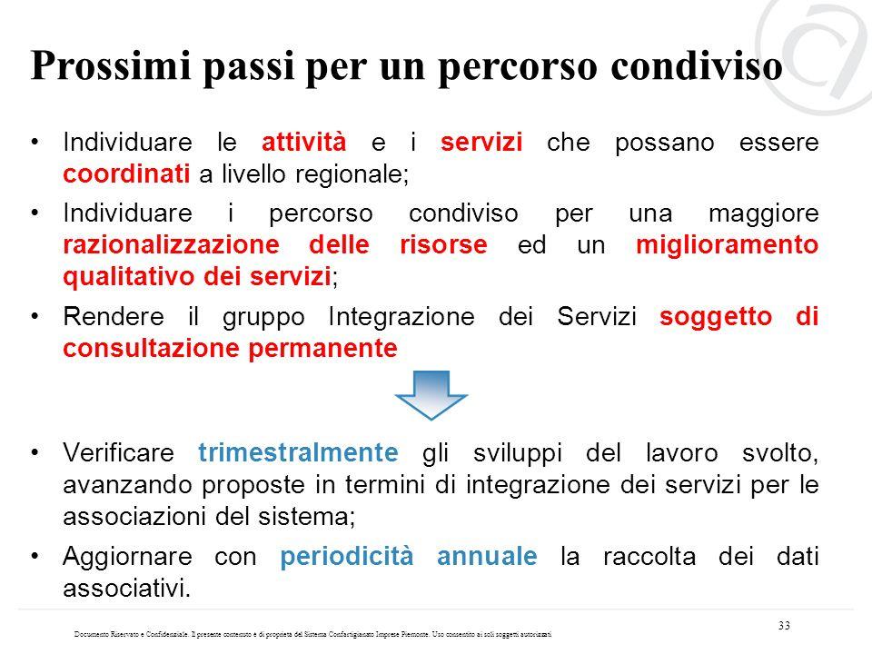 Individuare le attività e i servizi che possano essere coordinati a livello regionale; Individuare i percorso condiviso per una maggiore razionalizzaz