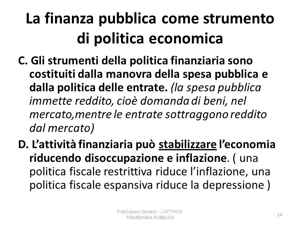 La finanza pubblica come strumento di politica economica C. Gli strumenti della politica finanziaria sono costituiti dalla manovra della spesa pubblic