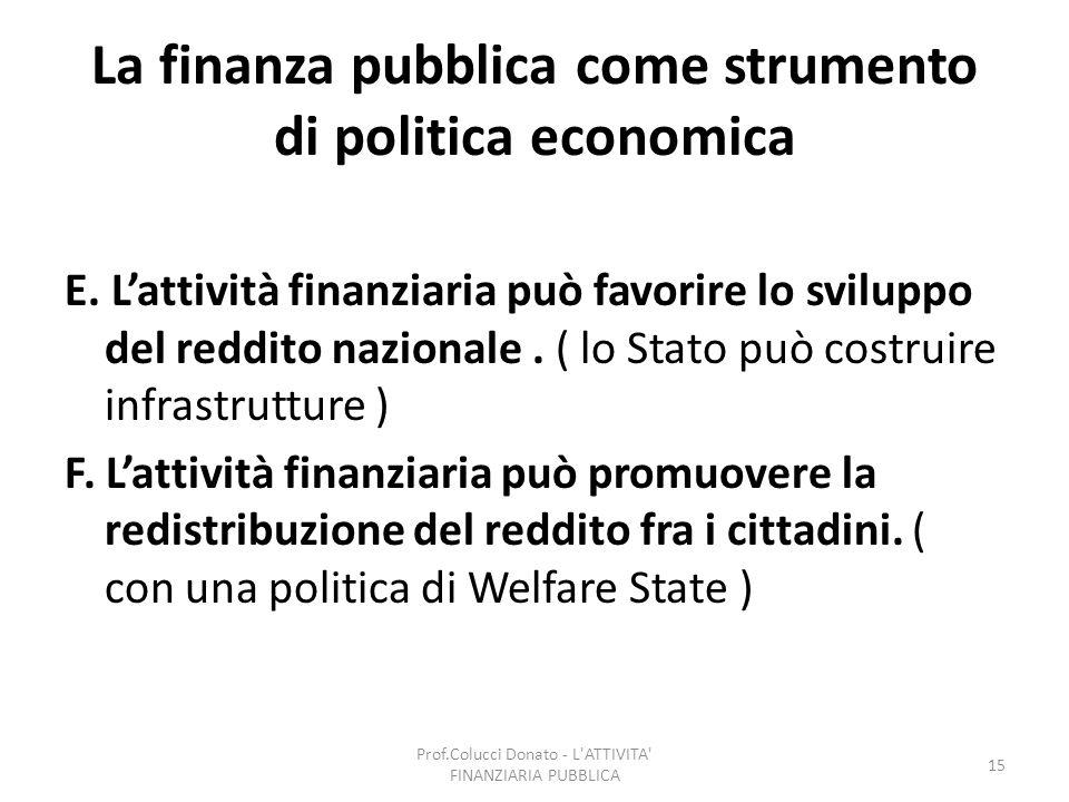 La finanza pubblica come strumento di politica economica E. Lattività finanziaria può favorire lo sviluppo del reddito nazionale. ( lo Stato può costr