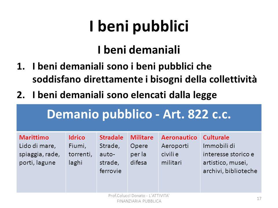 I beni pubblici I beni demaniali 1.I beni demaniali sono i beni pubblici che soddisfano direttamente i bisogni della collettività 2.I beni demaniali s
