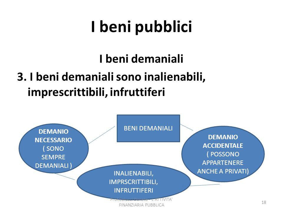 I beni pubblici I beni demaniali 3. I beni demaniali sono inalienabili, imprescrittibili, infruttiferi DEMANIO NECESSARIO ( SONO SEMPRE DEMANIALI ) DE