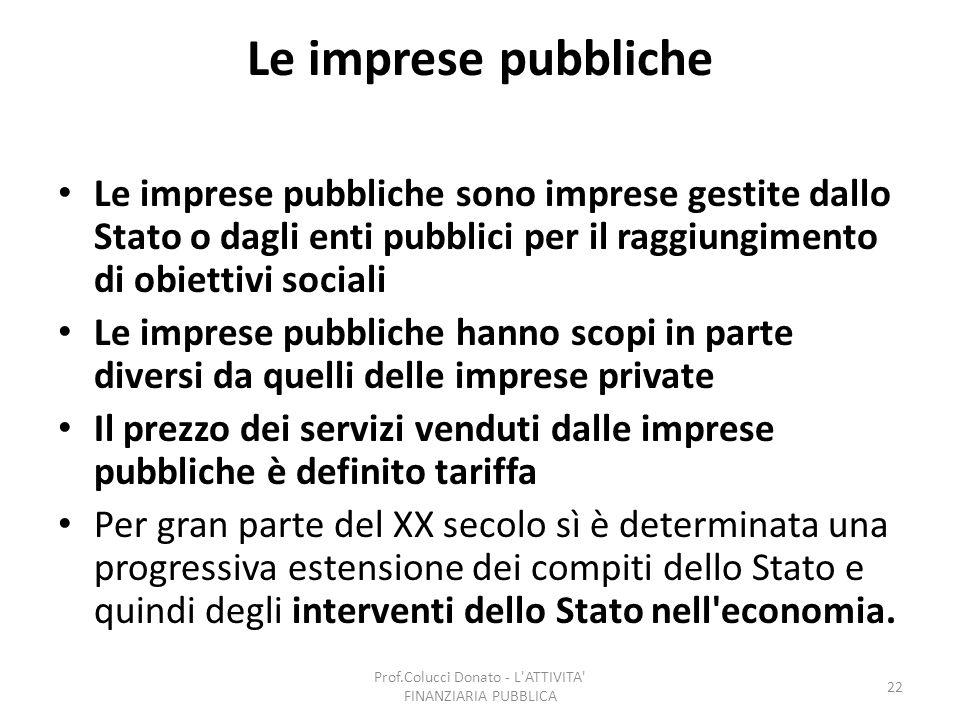 Le imprese pubbliche Le imprese pubbliche sono imprese gestite dallo Stato o dagli enti pubblici per il raggiungimento di obiettivi sociali Le imprese