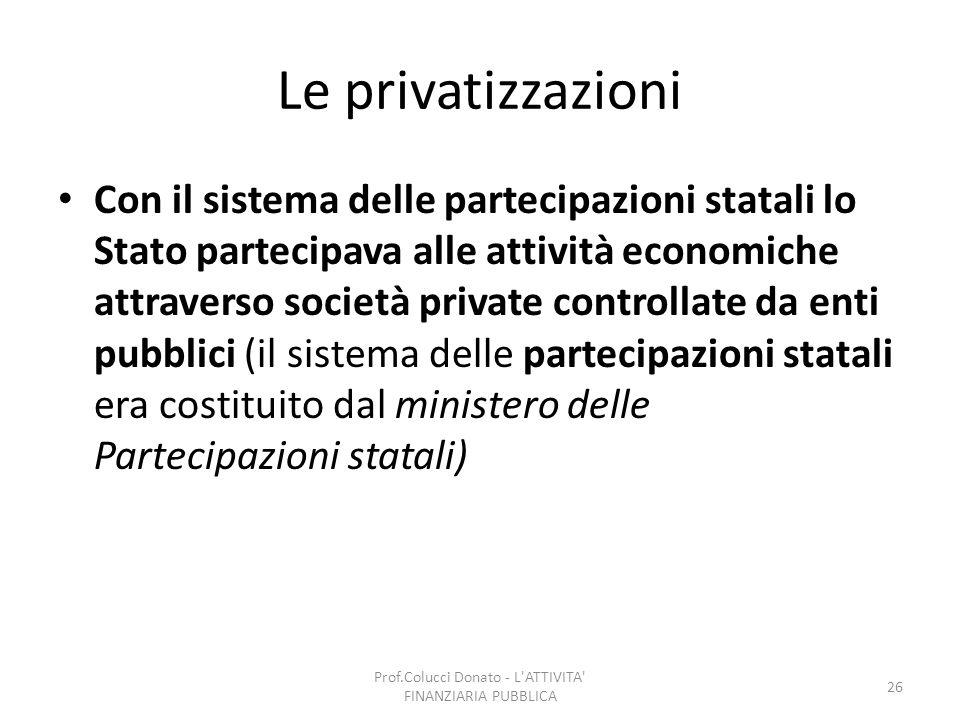 Le privatizzazioni Con il sistema delle partecipazioni statali lo Stato partecipava alle attività economiche attraverso società private controllate da