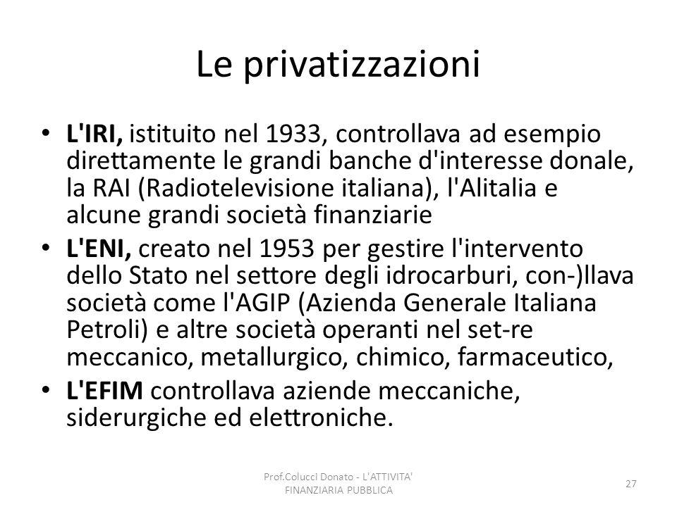 Le privatizzazioni L'IRI, istituito nel 1933, controllava ad esempio direttamente le grandi banche d'interesse donale, la RAI (Radiotelevisione italia