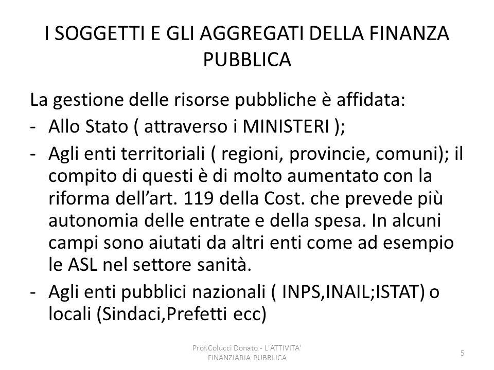I SOGGETTI E GLI AGGREGATI DELLA FINANZA PUBBLICA La gestione delle risorse pubbliche è affidata: -Allo Stato ( attraverso i MINISTERI ); -Agli enti t