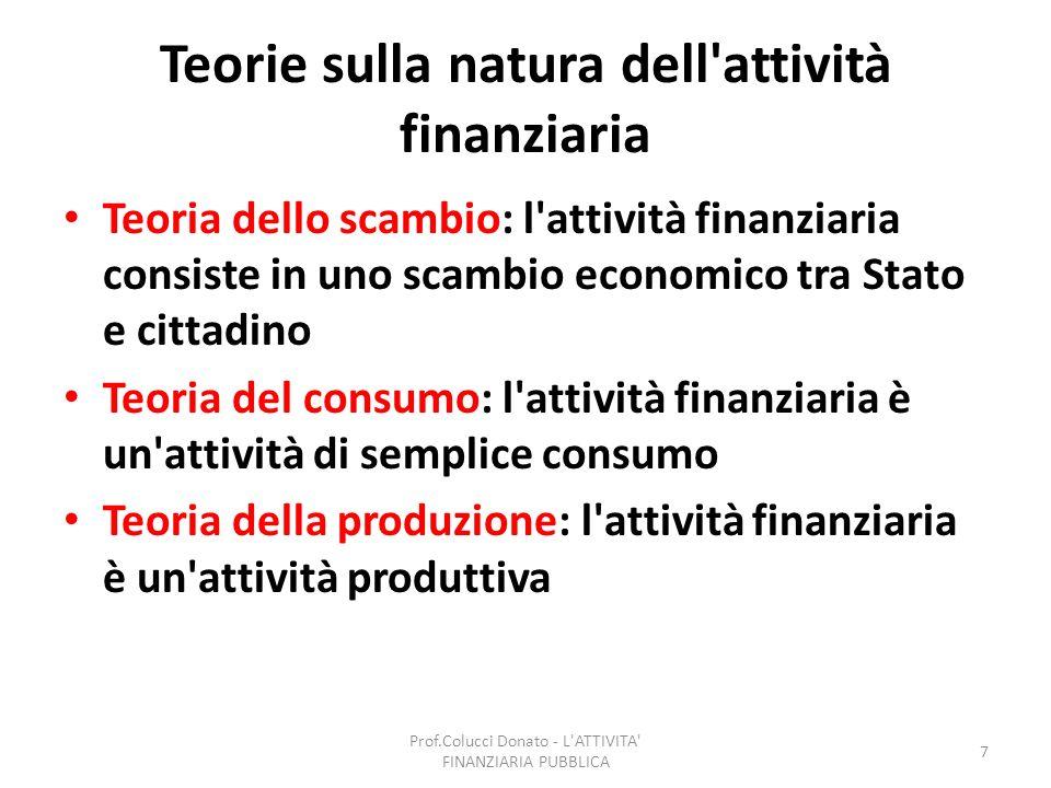 Teorie sulla natura dell'attività finanziaria Teoria dello scambio: l'attività finanziaria consiste in uno scambio economico tra Stato e cittadino Teo