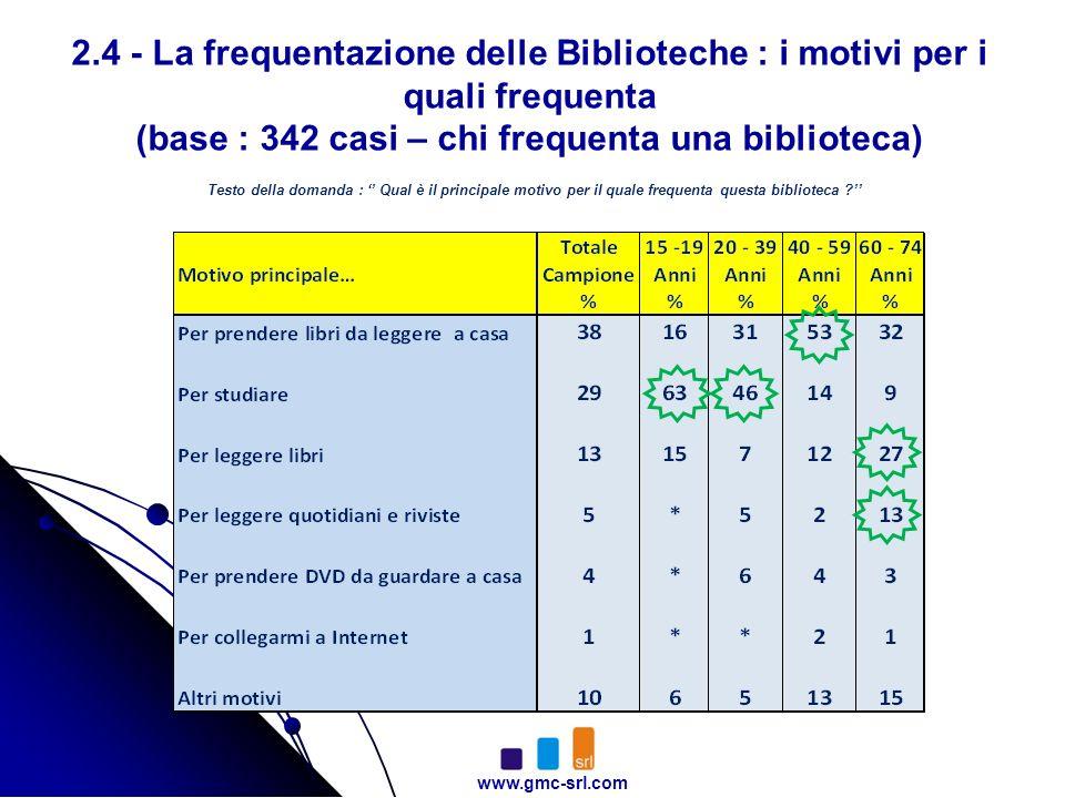 www.gmc-srl.com 2.4 - La frequentazione delle Biblioteche : i motivi per i quali frequenta (base : 342 casi – chi frequenta una biblioteca) Testo della domanda : Qual è il principale motivo per il quale frequenta questa biblioteca