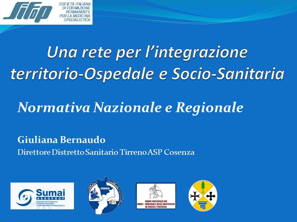 Normativa Nazionale e Regionale Giuliana Bernaudo Direttore Distretto Sanitario Tirreno ASP Cosenza