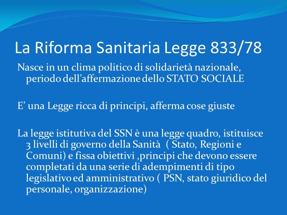 La Riforma Sanitaria Legge 833/78 Nasce in un clima politico di solidarietà nazionale, periodo dellaffermazione dello STATO SOCIALE E una Legge ricca