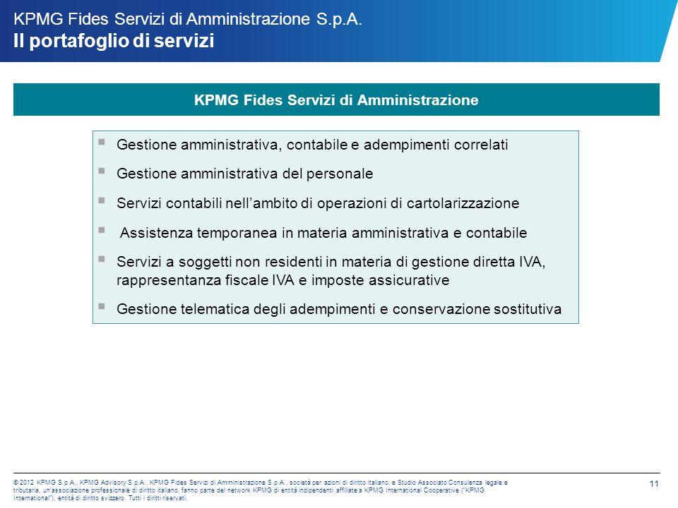 © 2012 KPMG S.p.A., KPMG Advisory S.p.A., KPMG Fides Servizi di Amministrazione S.p.A., società per azioni di diritto italiano, e Studio Associato Consulenza legale e tributaria, unassociazione professionale di diritto italiano, fanno parte del network KPMG di entità indipendenti affiliate a KPMG International Cooperative (KPMG International), entità di diritto svizzero.