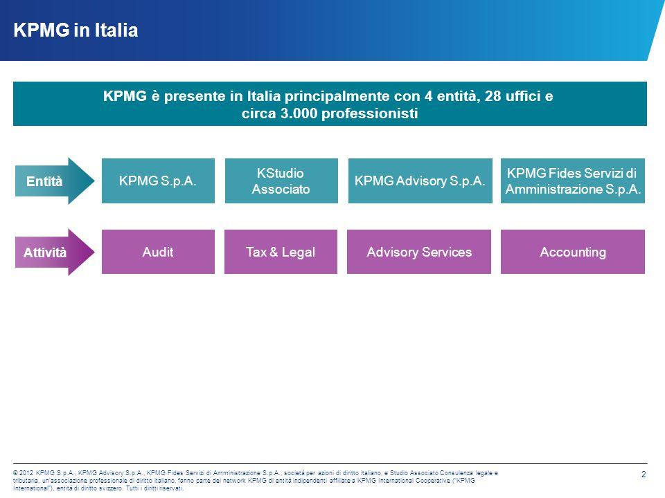 © 2012 KPMG S.p.A., KPMG Advisory S.p.A., KPMG Fides Servizi di Amministrazione S.p.A., società per azioni di diritto italiano, e Studio Associato Con